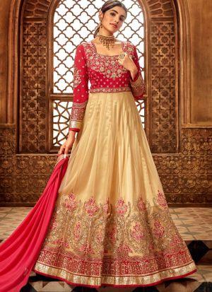 Latest Beige Net Designer Anarkali Suit For Wedding