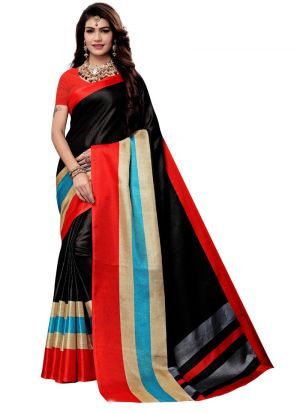 Latest Black Colour Khadi Silk Printed Indian Style Saree