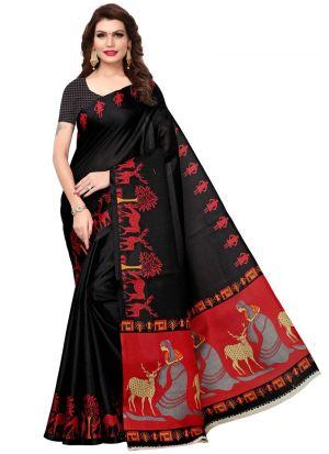 Latest Black Khadi Silk Printed Indian Style Saree