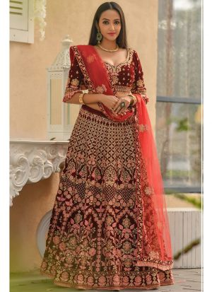 Latest Collection 9000 Velvet Maroon Traditional Designer Lehenga Choli