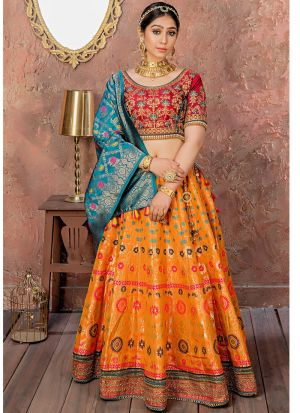 Latest Collection Apricot Orange Banarsi Silk Traditional Lehenga Choli