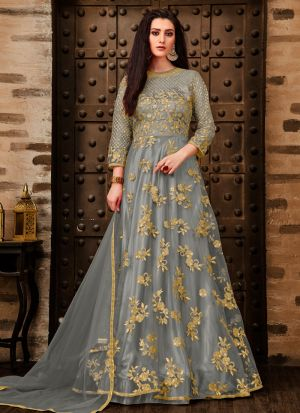 Latest Collection Grey Designer Anarkali Long Salwar Suit