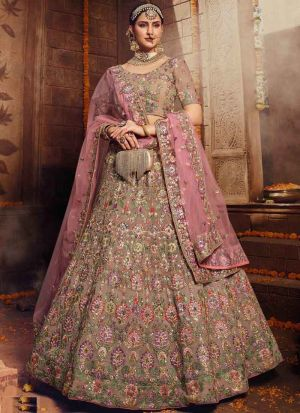 Latest Collection Light Brown Georgette Bridal Lehenga Choli