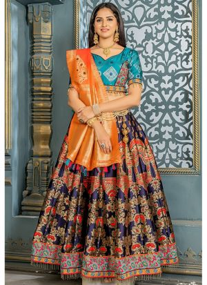 Latest Collection Navy Banarsi Silk Traditional Lehenga Choli
