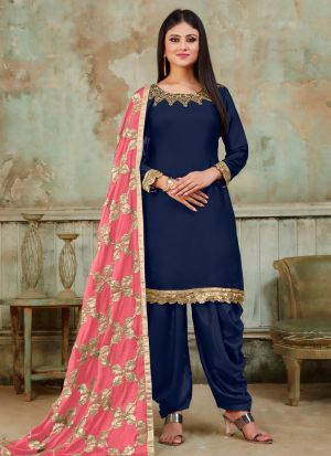 Latest Collection Navy Designer Patiala Suit