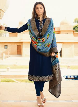 Latest Collection Satin Georgette Navy Churidar Suit For Bridesmaids