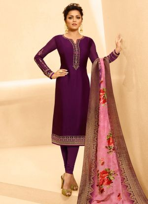 Latest Collection Satin Georgette Purple Churidar Suit For Bridesmaids