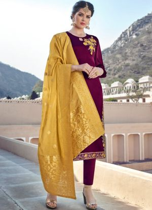 Latest Collection Satin Georgette Purple Straight Cut Suit For Ceremony