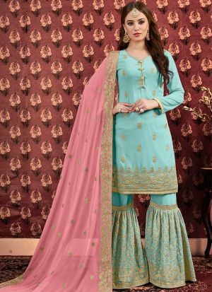 Latest Collection Sky Blue Designer Sharara Suit