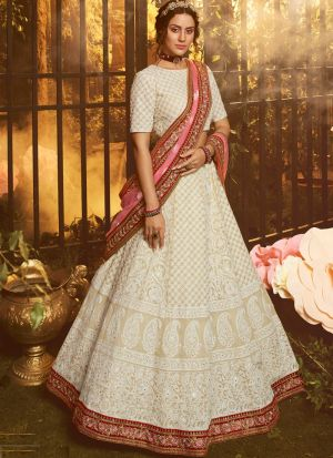 Latest Collection White Georgette Reception Lehenga Choli