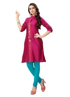 Latest Design Cotton Silk Pink Kurti Collection