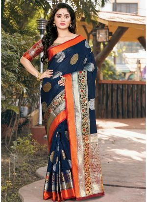 Latest Design Handloom Silk Navy Paithani Saree