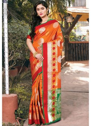 Latest Design Handloom Silk Orange Paithani Saree