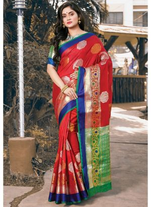 Latest Design Handloom Silk Red Paithani Saree