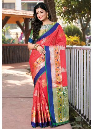 Latest Design Handloom Silk Salmon Red Paithani Saree