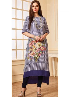Latest Designer Cotton Navy Ladies Kurti