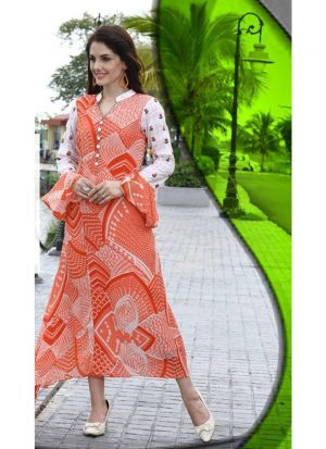 Latest Designer Cotton Orange Ladies Kurti