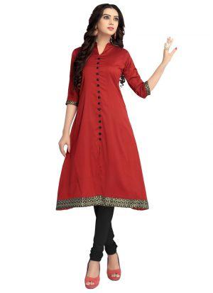 Latest Designer Cotton Silk Red Ladies Kurtis