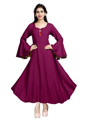 Latest Designer Pink Pure Heavy Rayon Stylish Kurtis Collection