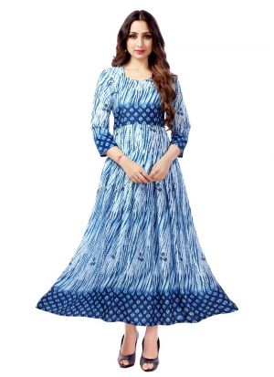 Latest Designer Pure Heavy Rayon Blue Ladies Kurtis