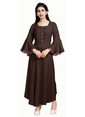 Latest Designer Pure Heavy Rayon Brown Ladies Kurtis