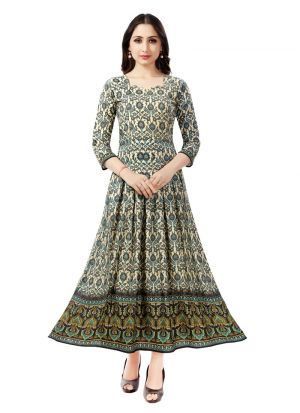 Latest Designer Pure Heavy Rayon Green Colour Ladies Kurtis