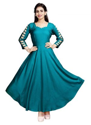 Latest Designer Pure Heavy Rayon Green Ladies Kurtis