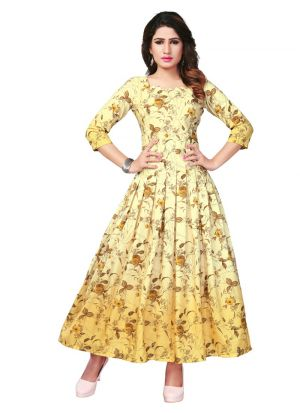 Latest Designer Yellow Pure Heavy Rayon Stylish Kurtis Collection