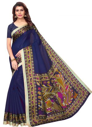 Latest Fashion Navy Printed Khadi Silk Saree For Festival