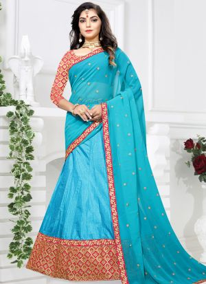 Latest Firozi Sana Silk Designer Lehenga Choli