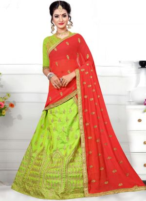 Latest Green Sana Silk Designer Lehenga Choli