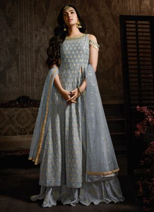 Latest Grey Georgette Designer Palazzo Suit For Bridal