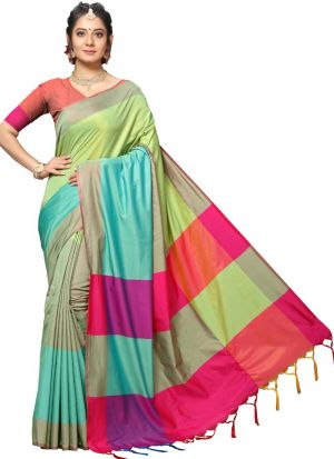 Latest Indian Fashion Handloom Chex Silk Multi Color Saree