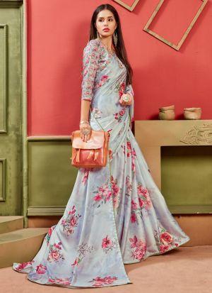 Latest Indian Fashion Satin Grey Saree