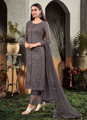 Latest Launch Georgette Grey Straight Suit For Party