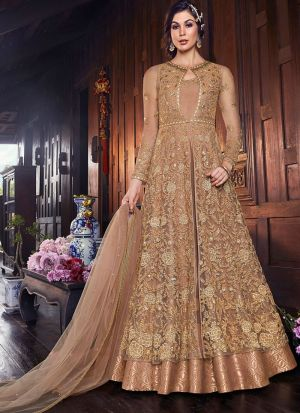Latest Launch Net Beige Floor Length Anarkali Suit For Wedding
