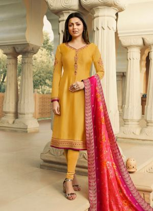 Latest Launch Satin Georgette Yellow Churidar Suit For Bridesmaids