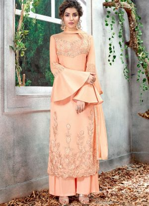 Latest Launch Silk Peach Straight Cut Suit For Ceremony