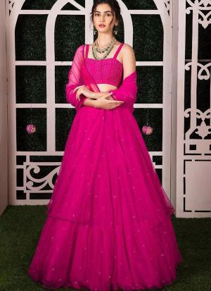Latest Launched Pink Color Mono Net Moti Work Designer Lehenga Choli