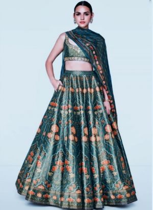 Latest Launched Satin Green Wedding Wear Lehenga Choli