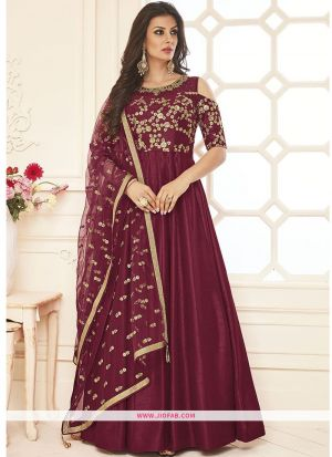 Latest Maroon Hand Work Bridal Net Gown For Festival