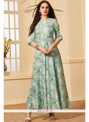 Latest Mint Green Color Printed Gown For Partywear