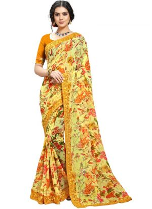 Latest New Casual Wear Multi Color Georgette Saree