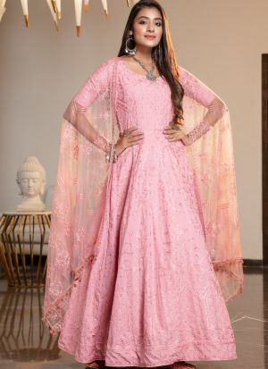 Latest New Embroidered Work Net Pink Designer Gown