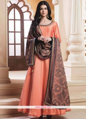 Latest Peach Hand Work Silky Silk Gown For Festival