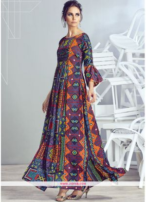 Latest Purple Color Printed Gown For Partywear