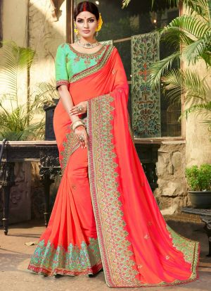 Latest Red Indian Party Wear Fancy Sarees