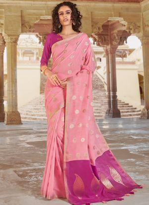 Light Baby Pink Linen Cotton Beutiful Wedding Saree