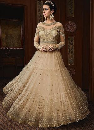 Light Cream Heavy Net Designer Anarkali Salwar Suit