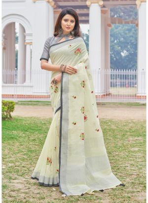 Light Lemon Colour Linen Cotton Beutiful Wedding Saree